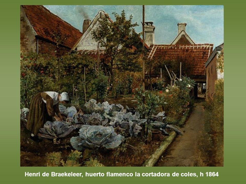 Henri de Braekeleer, huerto flamenco la cortadora de coles, h 1864