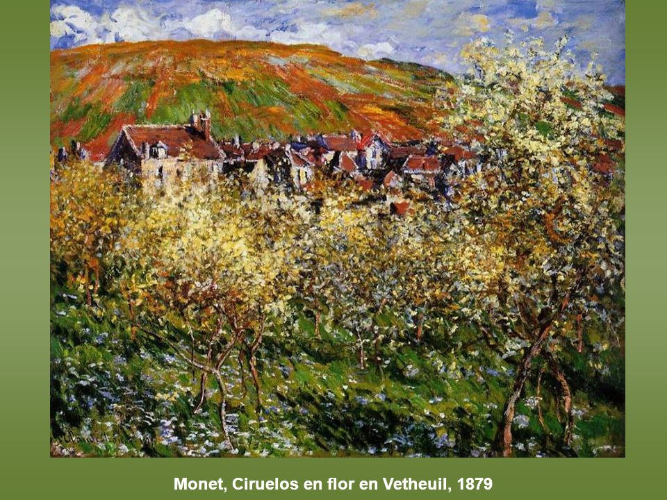 Monet, Ciruelos en flor en Vetheuil, 1879