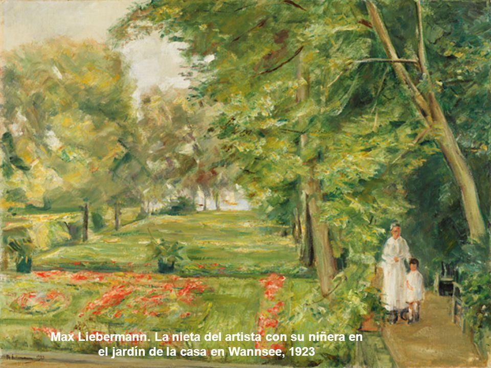 Max Liebermann. La nieta del artista con su niñera en el jardín de la casa en Wannsee, 1923
