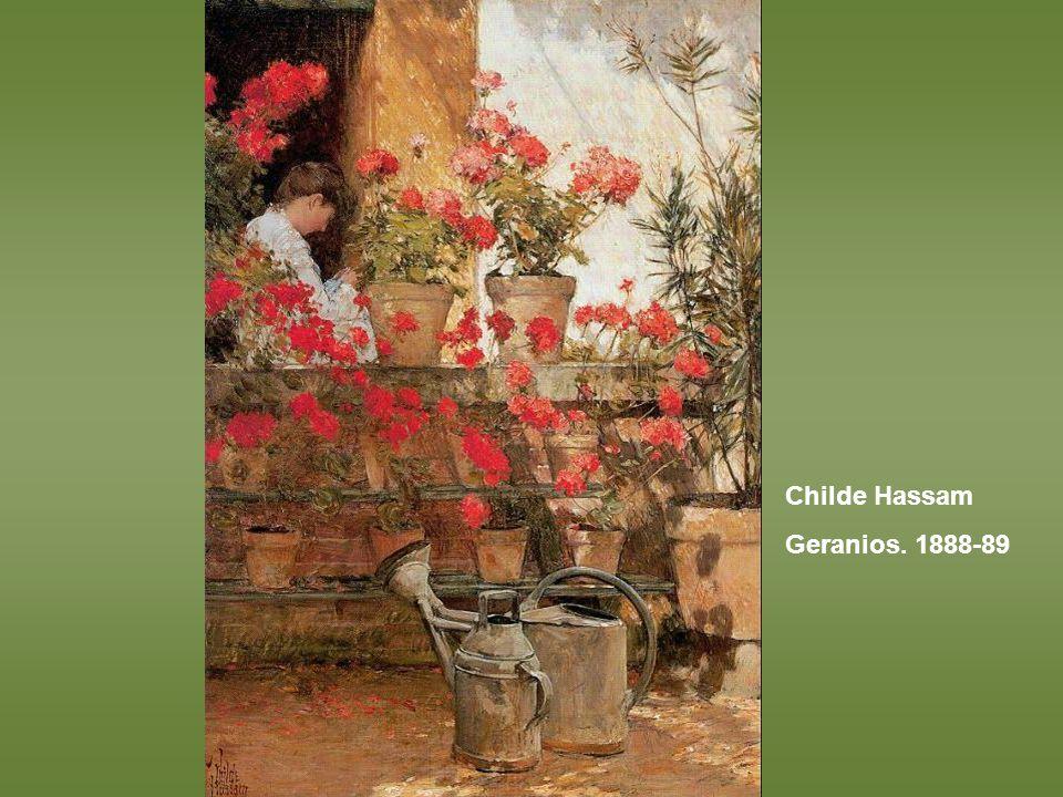 Childe Hassam Geranios. 1888-89