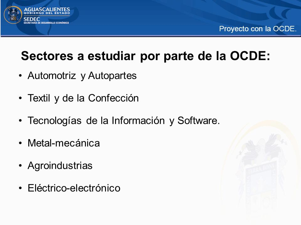 Sectores a estudiar por parte de la OCDE: