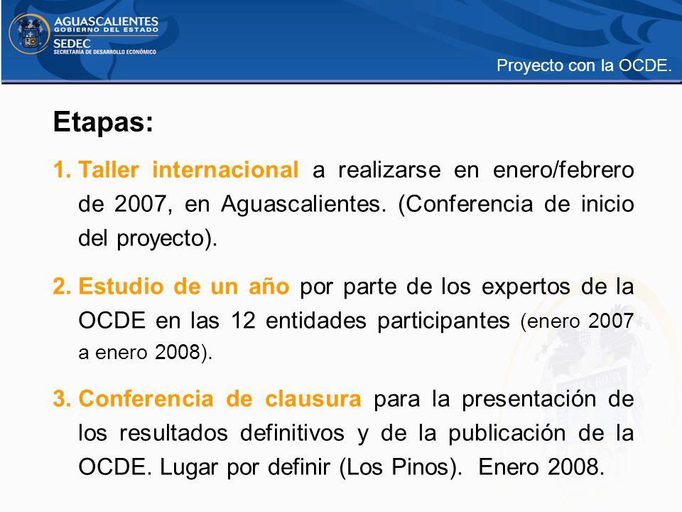 Proyecto con la OCDE. Etapas: Taller internacional a realizarse en enero/febrero de 2007, en Aguascalientes. (Conferencia de inicio del proyecto).