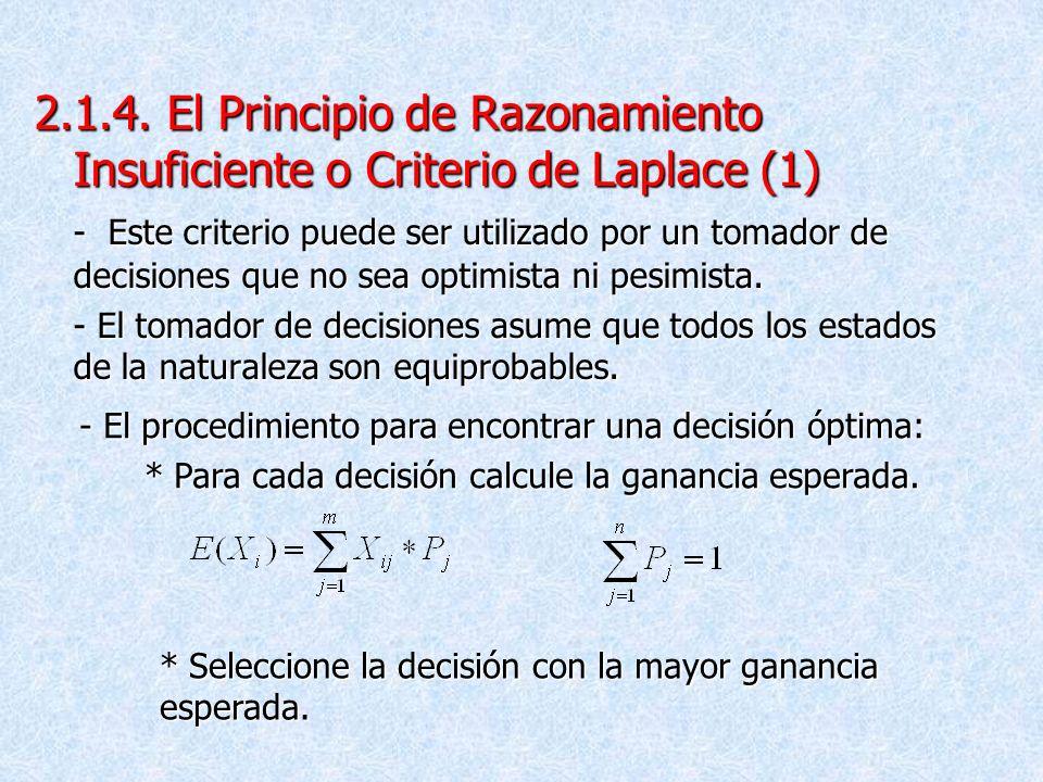2.1.4. El Principio de Razonamiento Insuficiente o Criterio de Laplace (1)