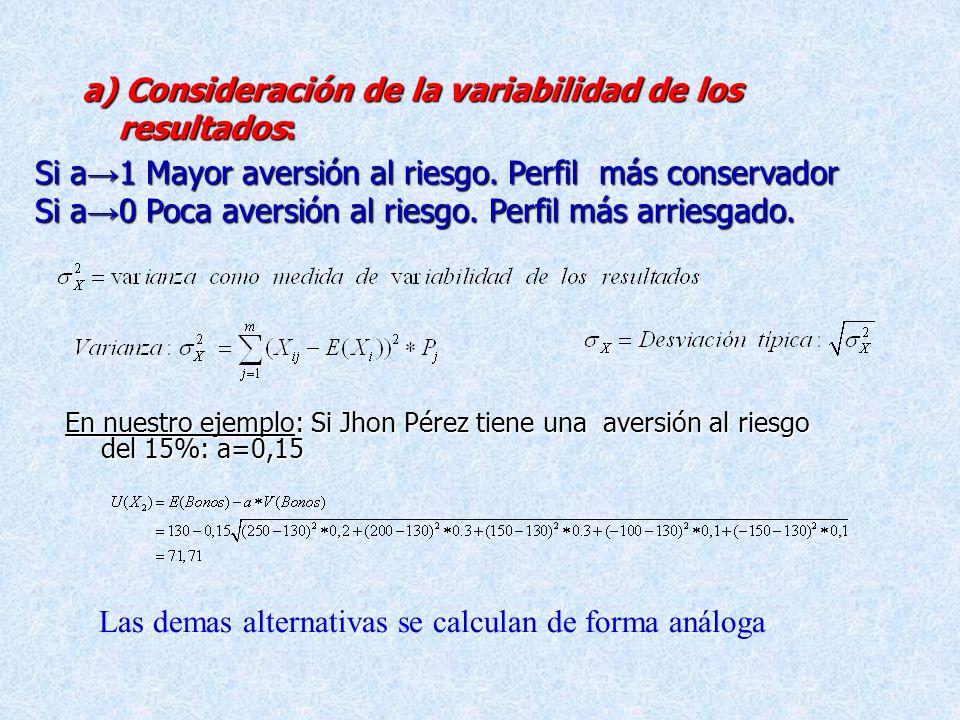 a) Consideración de la variabilidad de los resultados:
