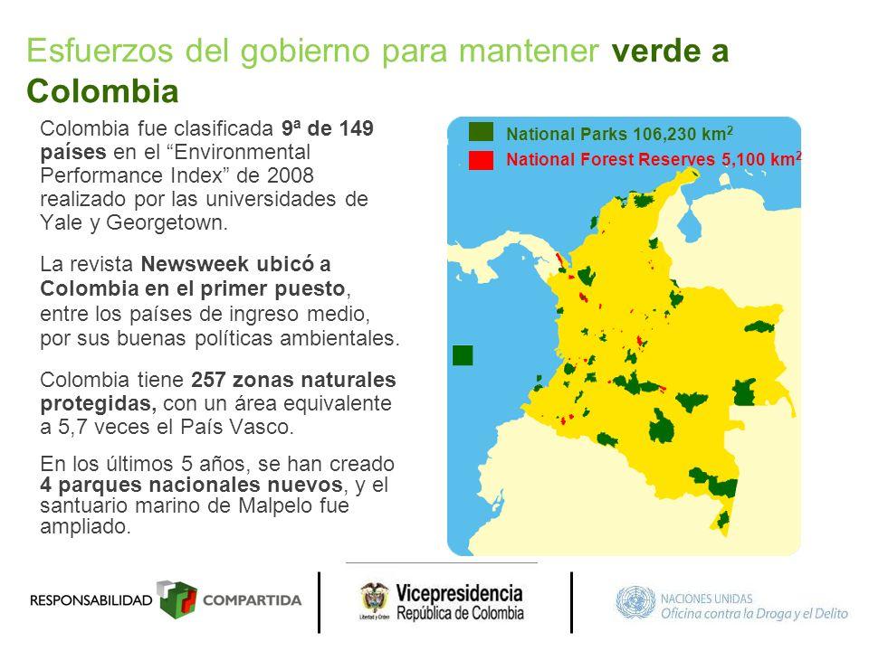 Esfuerzos del gobierno para mantener verde a Colombia