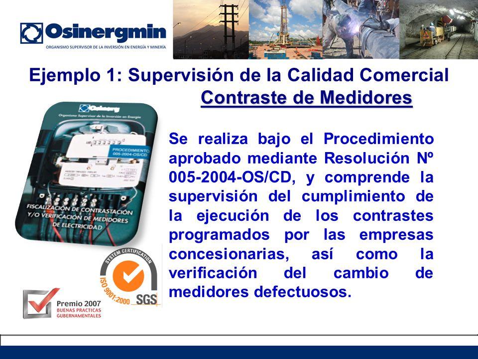 Ejemplo 1: Supervisión de la Calidad Comercial Contraste de Medidores