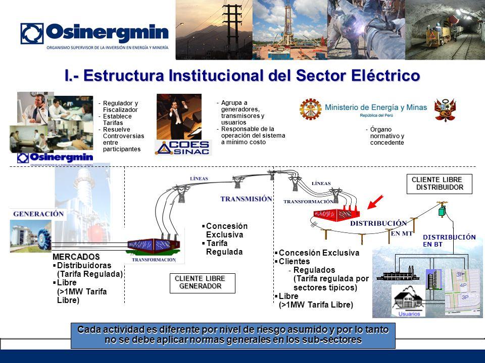 I.- Estructura Institucional del Sector Eléctrico