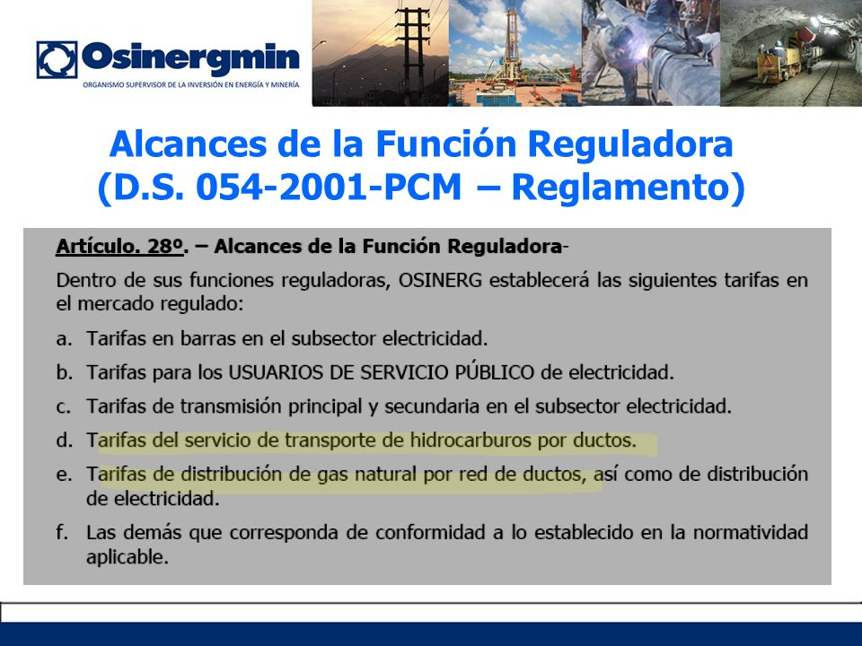 Alcances de la Función Reguladora (D.S. 054-2001-PCM – Reglamento)