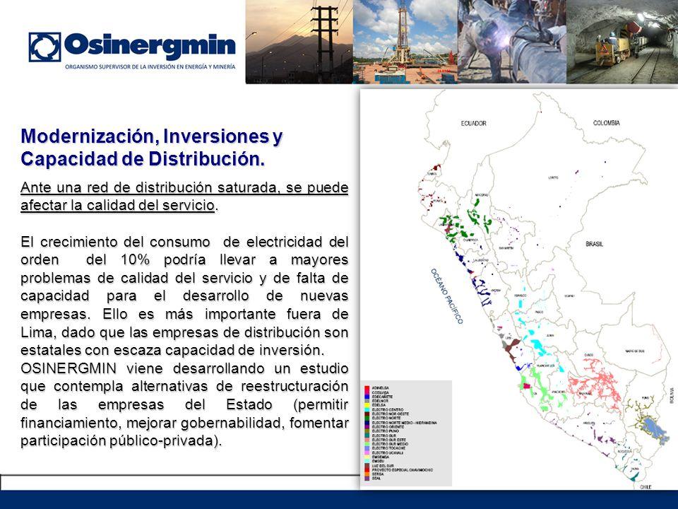 Modernización, Inversiones y Capacidad de Distribución.
