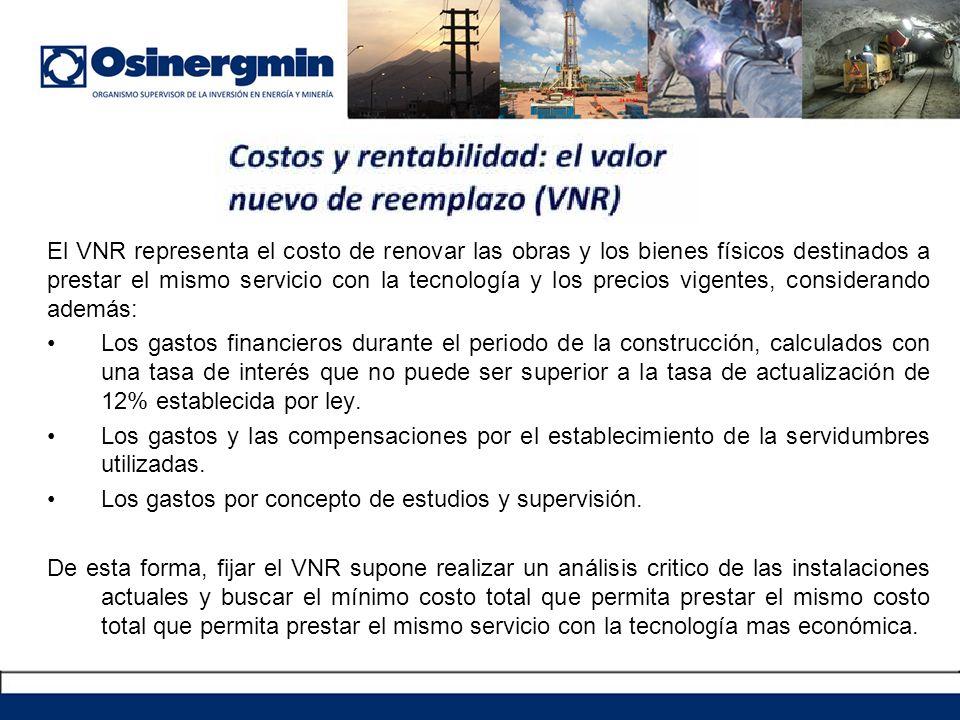 El VNR representa el costo de renovar las obras y los bienes físicos destinados a prestar el mismo servicio con la tecnología y los precios vigentes, considerando además: