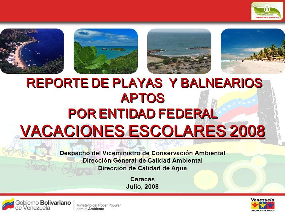 VACACIONES ESCOLARES 2008 REPORTE DE PLAYAS Y BALNEARIOS APTOS