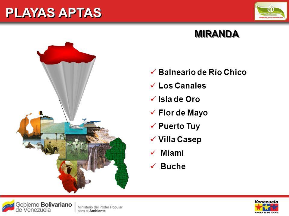 PLAYAS APTAS MIRANDA Balneario de Río Chico Los Canales Isla de Oro