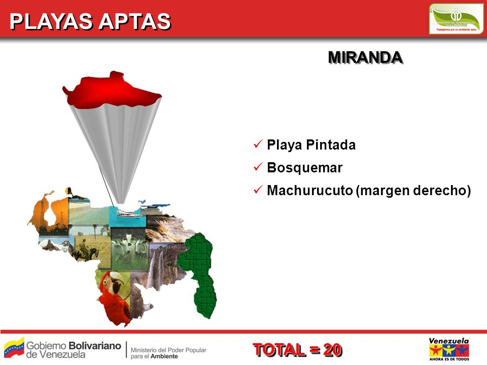 PLAYAS APTAS MIRANDA TOTAL = 20 Playa Pintada Bosquemar
