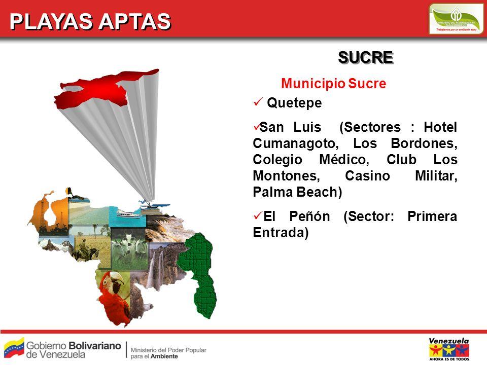 PLAYAS APTAS SUCRE Municipio Sucre Quetepe