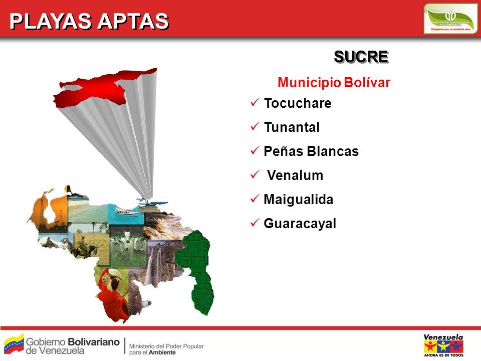 PLAYAS APTAS SUCRE Municipio Bolívar Tocuchare Tunantal Peñas Blancas