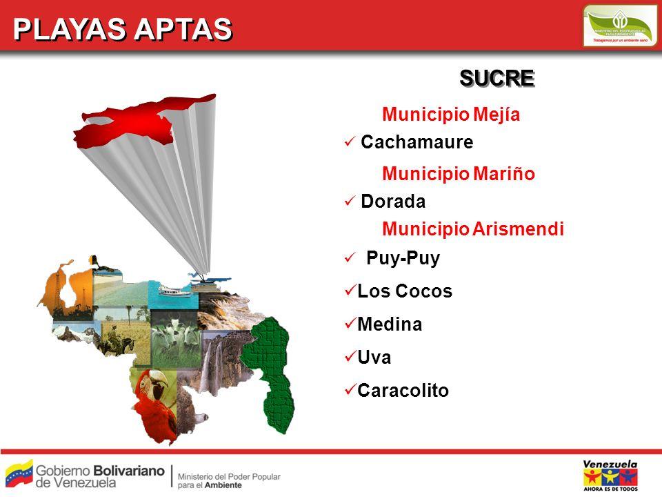 PLAYAS APTAS SUCRE Municipio Mejía Municipio Mariño