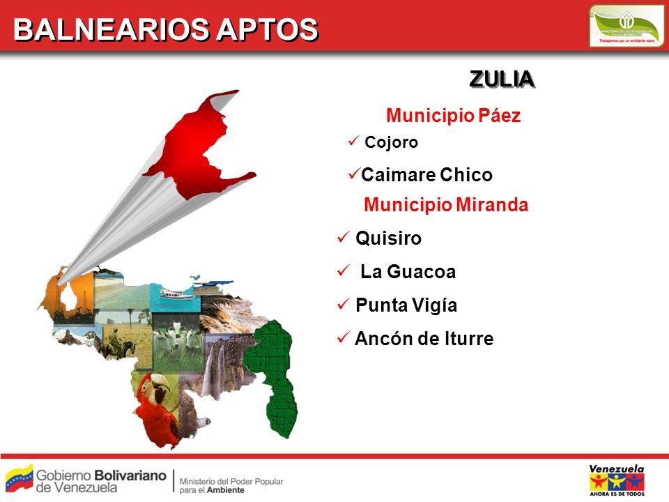 BALNEARIOS APTOS ZULIA Municipio Páez Caimare Chico Municipio Miranda