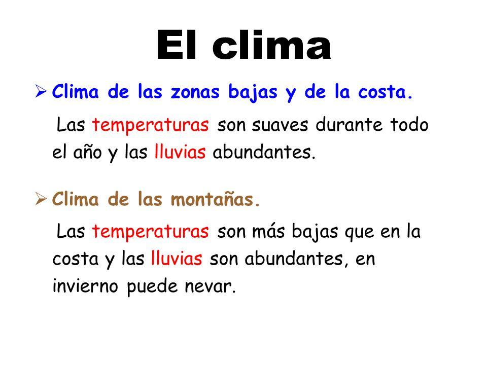 El clima Clima de las zonas bajas y de la costa.