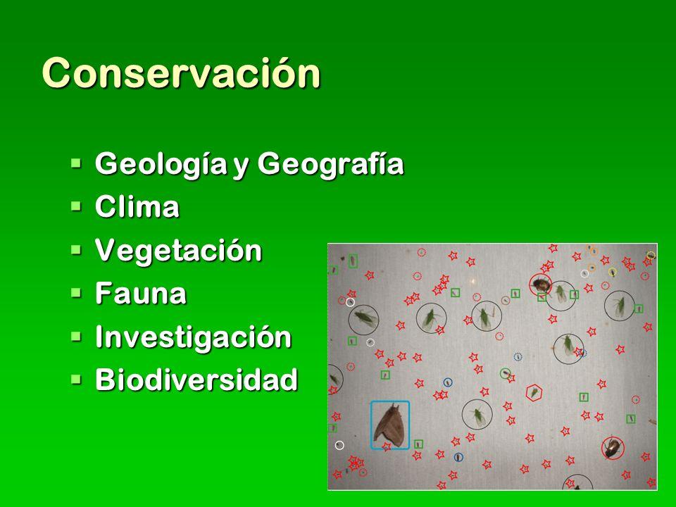 Conservación Geología y Geografía Clima Vegetación Fauna Investigación