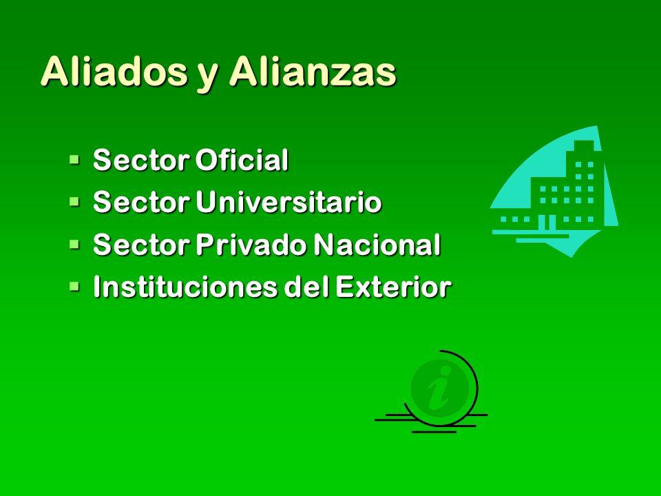 Aliados y Alianzas Sector Oficial Sector Universitario