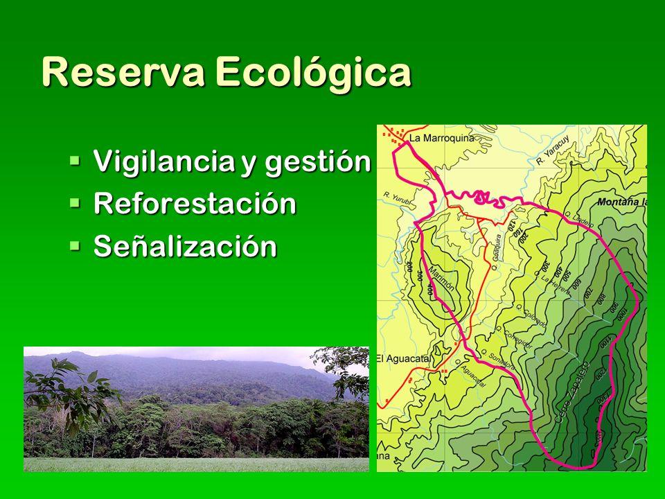 Reserva Ecológica Vigilancia y gestión Reforestación Señalización