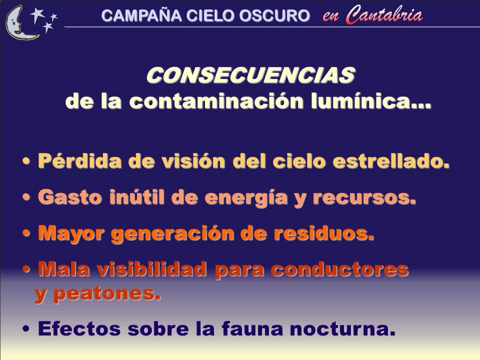 CONSECUENCIAS de la contaminación lumínica...