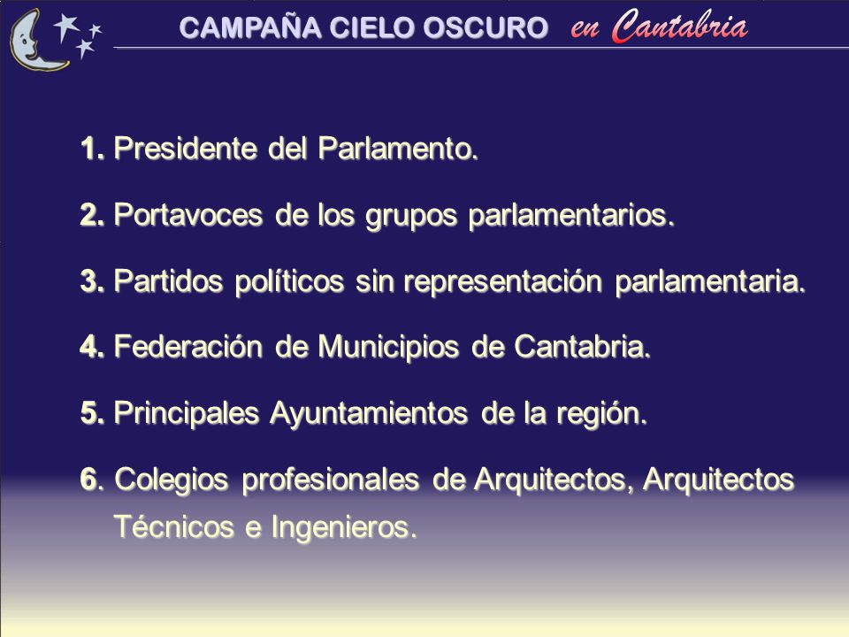 1. Presidente del Parlamento.