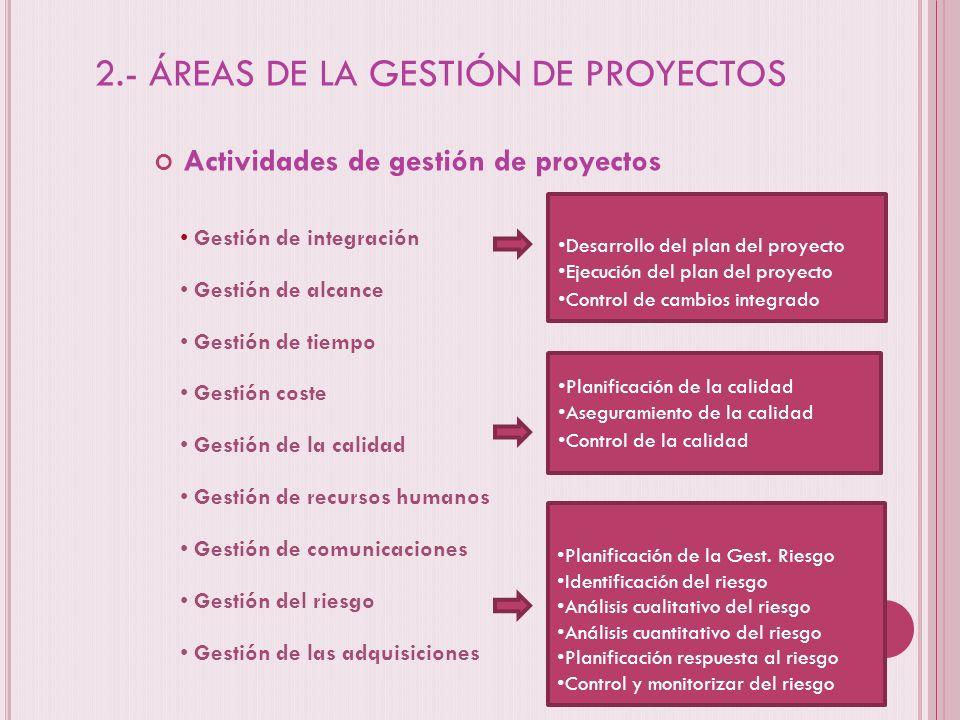 2.- ÁREAS DE LA GESTIÓN DE PROYECTOS