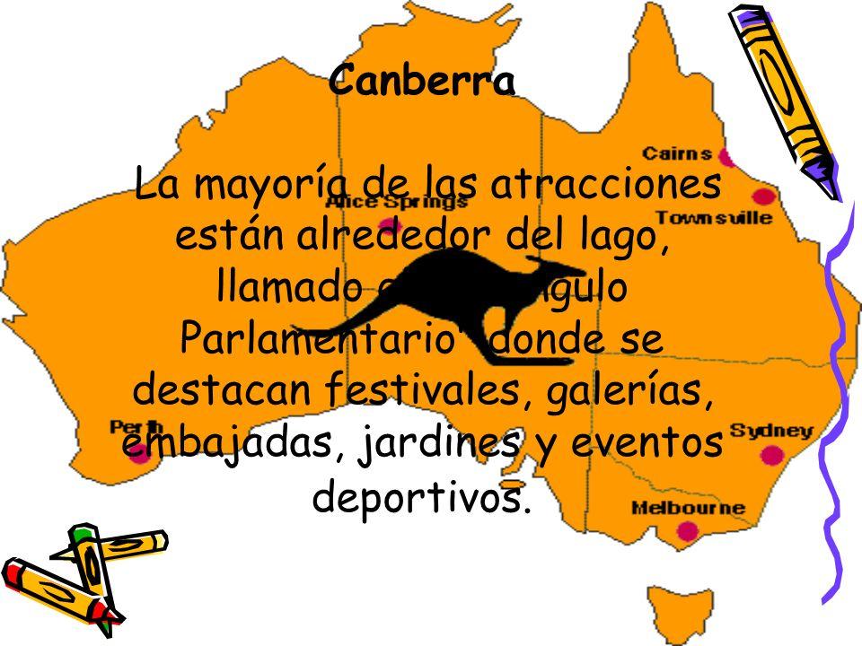 Canberra La mayoría de las atracciones están alrededor del lago, llamado el Triangulo Parlamentario donde se destacan festivales, galerías, embajadas, jardines y eventos deportivos.
