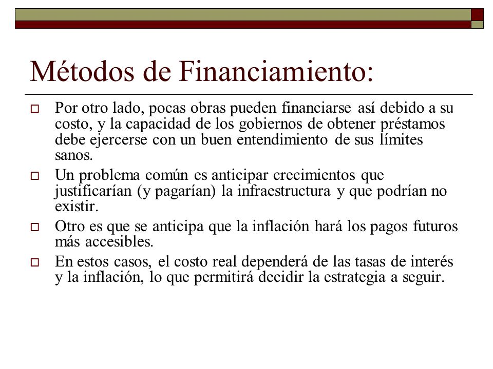 Métodos de Financiamiento: