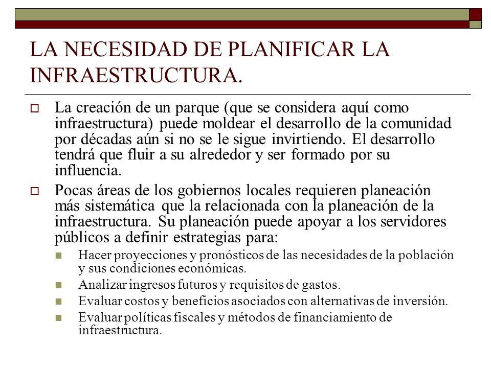 LA NECESIDAD DE PLANIFICAR LA INFRAESTRUCTURA.