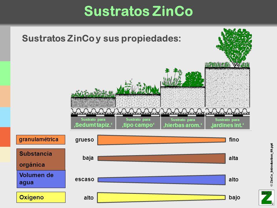 Sustratos ZinCo Sustratos ZinCo y sus propiedades: Substancia orgánica
