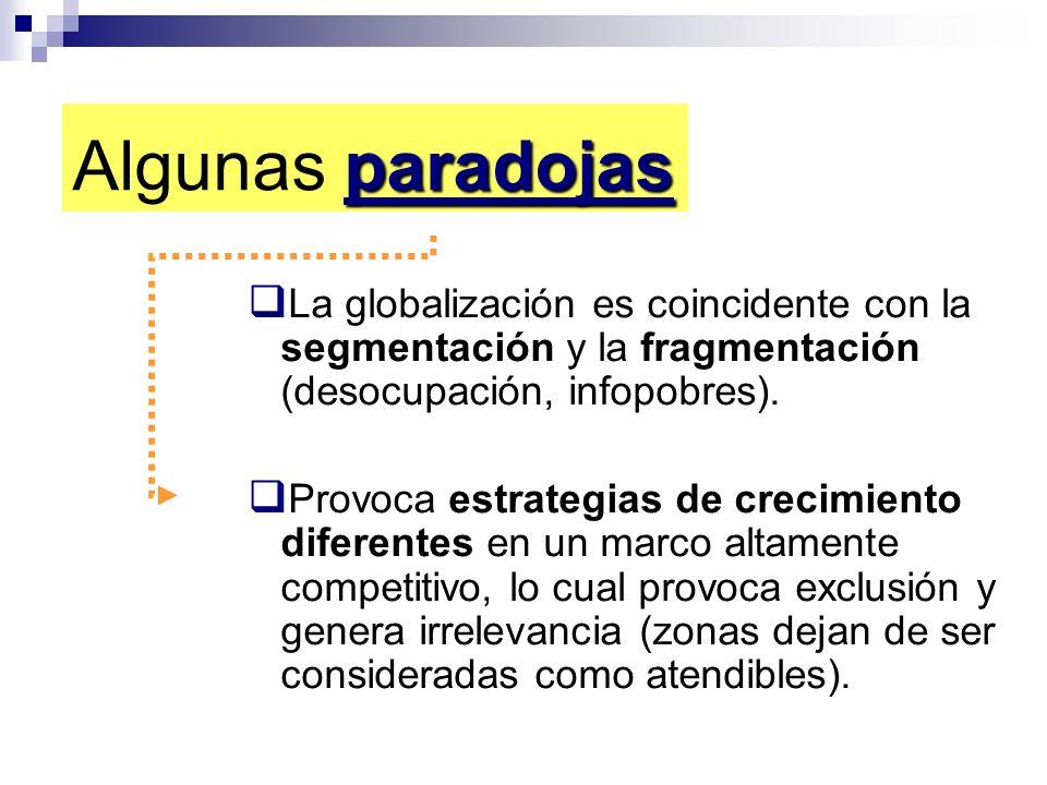 Algunas paradojas La globalización es coincidente con la segmentación y la fragmentación (desocupación, infopobres).