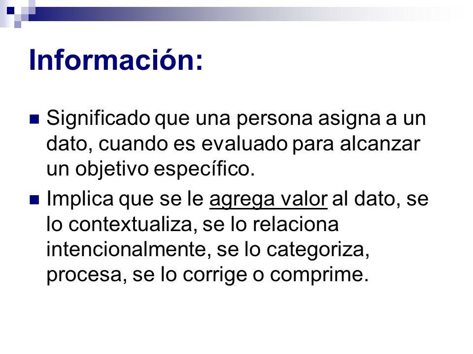 Información: Significado que una persona asigna a un dato, cuando es evaluado para alcanzar un objetivo específico.