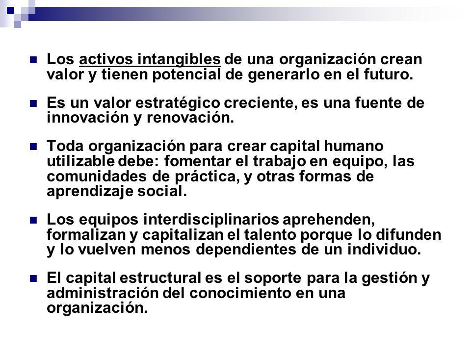 Los activos intangibles de una organización crean valor y tienen potencial de generarlo en el futuro.