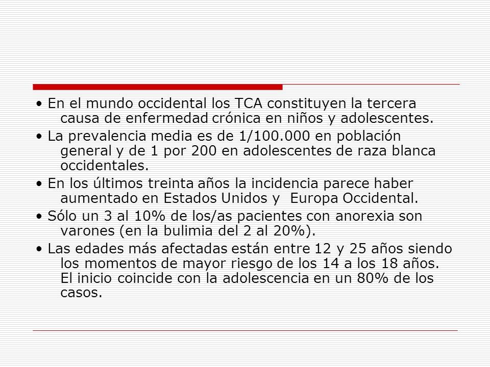 • En el mundo occidental los TCA constituyen la tercera causa de enfermedad crónica en niños y adolescentes.