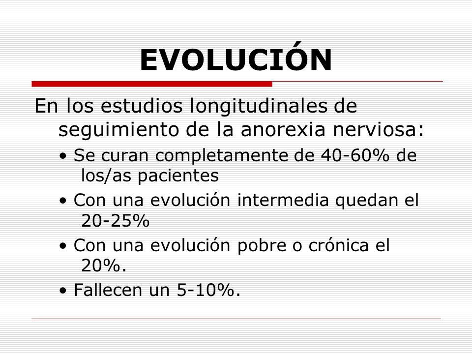 EVOLUCIÓN En los estudios longitudinales de seguimiento de la anorexia nerviosa: • Se curan completamente de 40-60% de los/as pacientes.