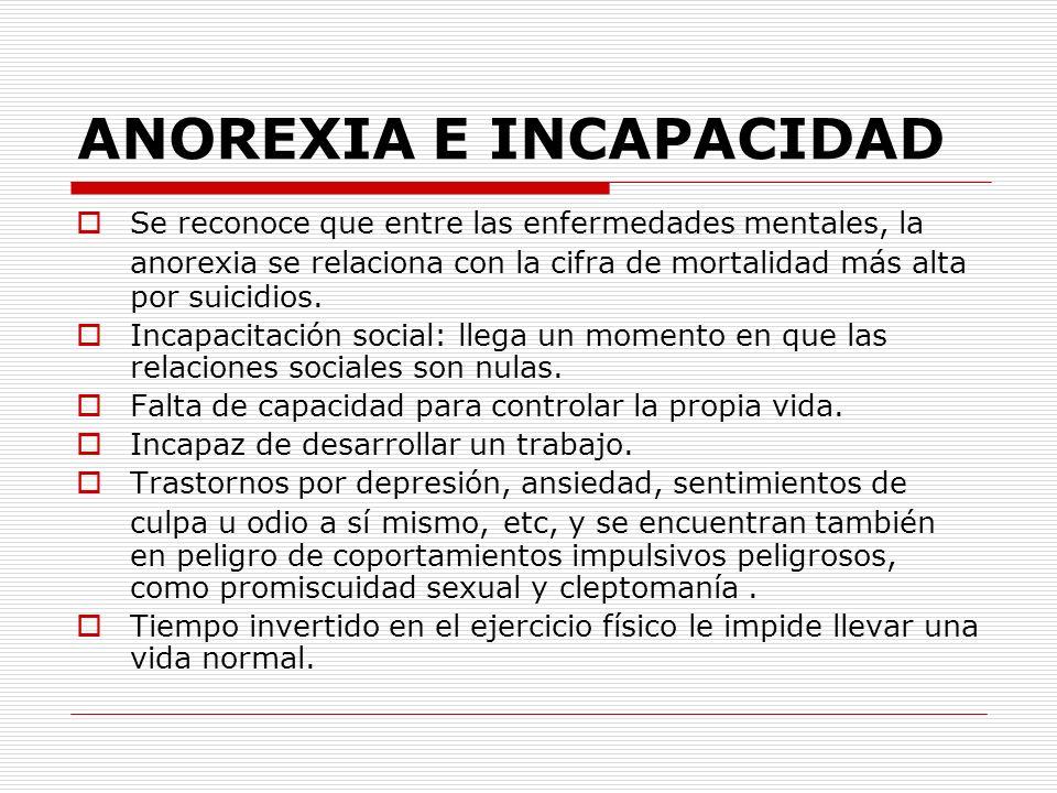 ANOREXIA E INCAPACIDAD