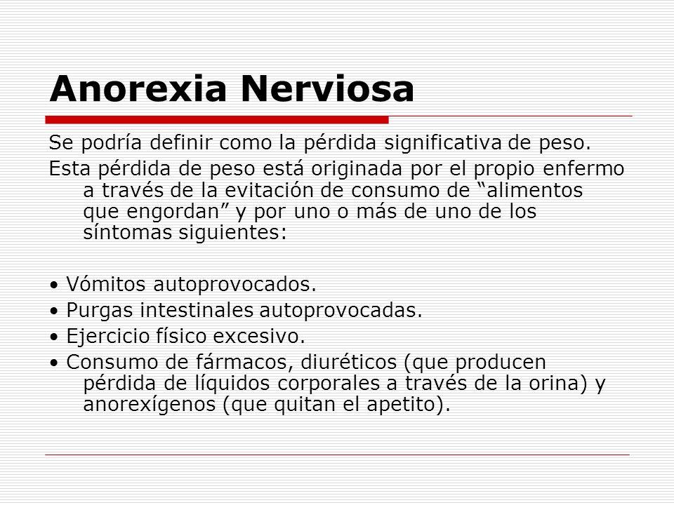 Anorexia NerviosaSe podría definir como la pérdida significativa de peso.