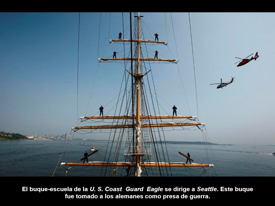 El buque-escuela de la U. S. Coast Guard Eagle se dirige a Seattle