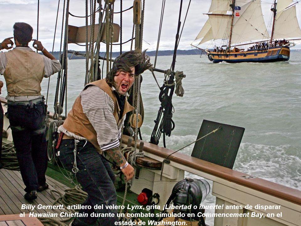 Billy Gernertt, artillero del velero Lynx, grita ¡Libertad o muerte