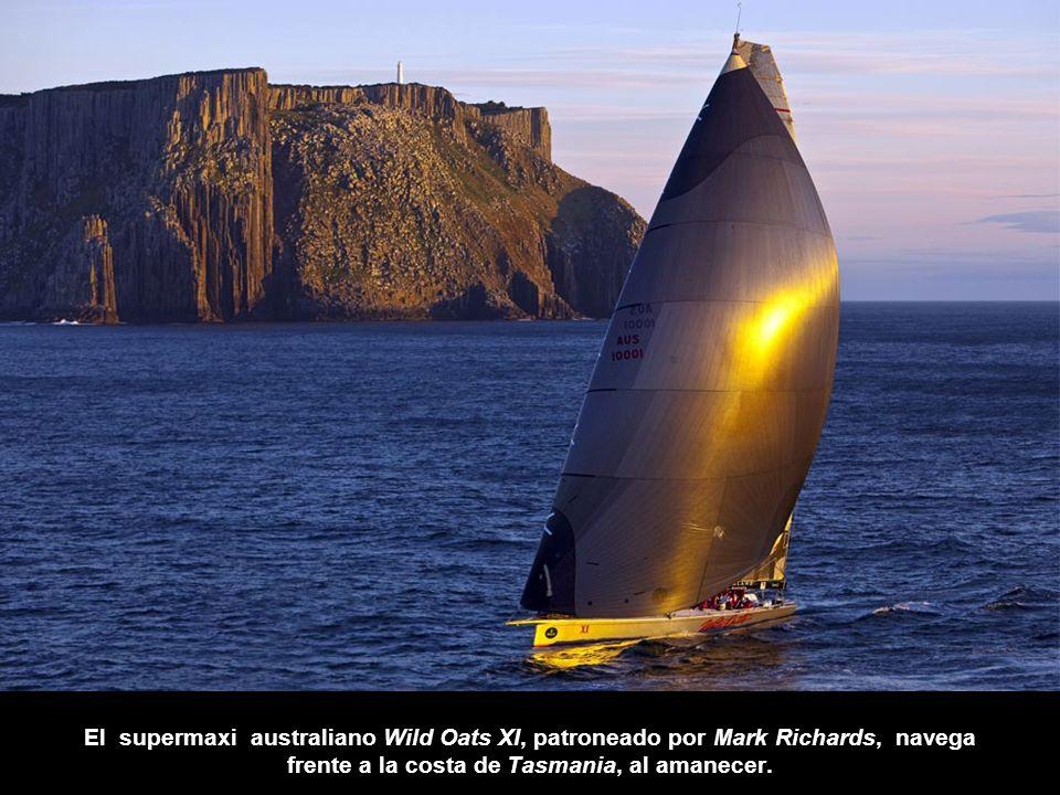 El supermaxi australiano Wild Oats XI, patroneado por Mark Richards, navega frente a la costa de Tasmania, al amanecer.