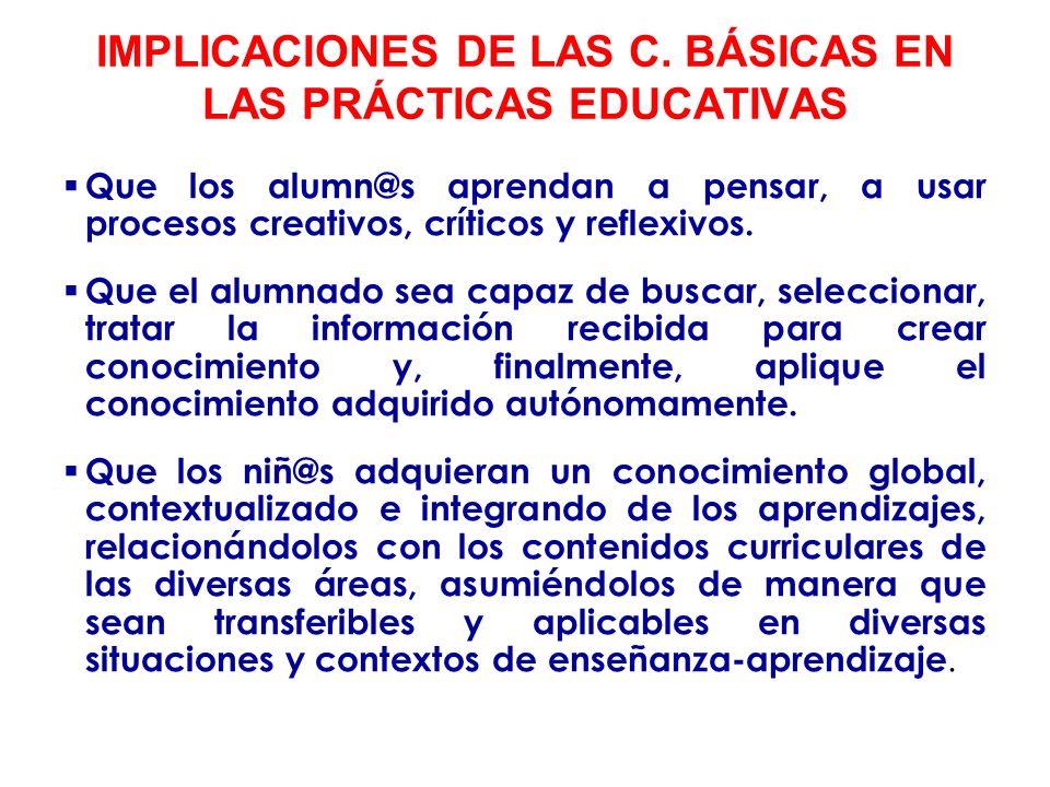 IMPLICACIONES DE LAS C. BÁSICAS EN LAS PRÁCTICAS EDUCATIVAS