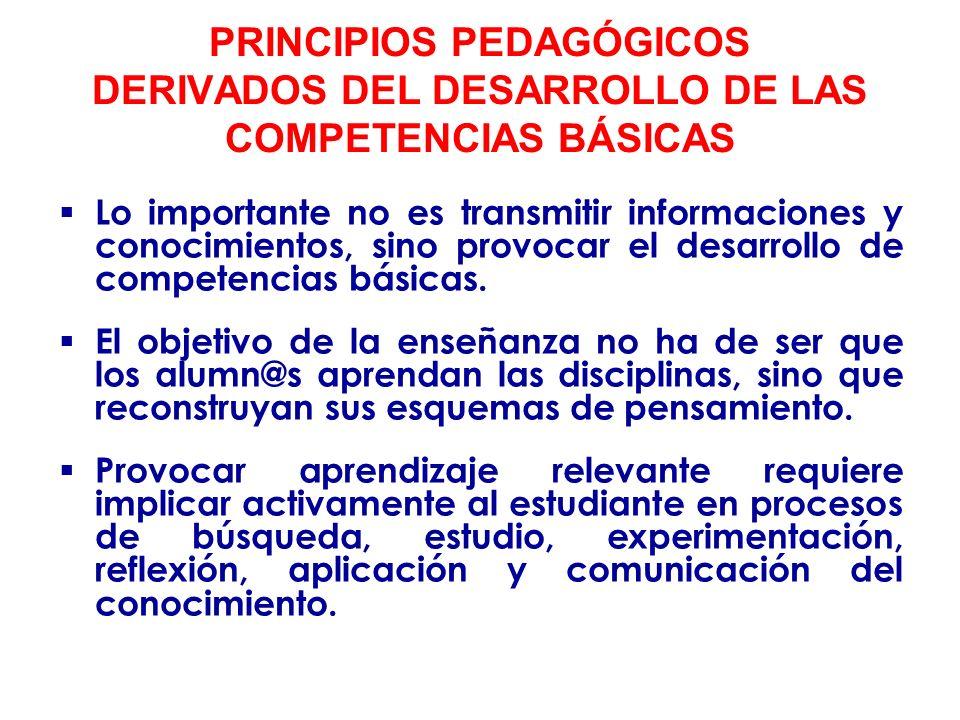 PRINCIPIOS PEDAGÓGICOS DERIVADOS DEL DESARROLLO DE LAS COMPETENCIAS BÁSICAS