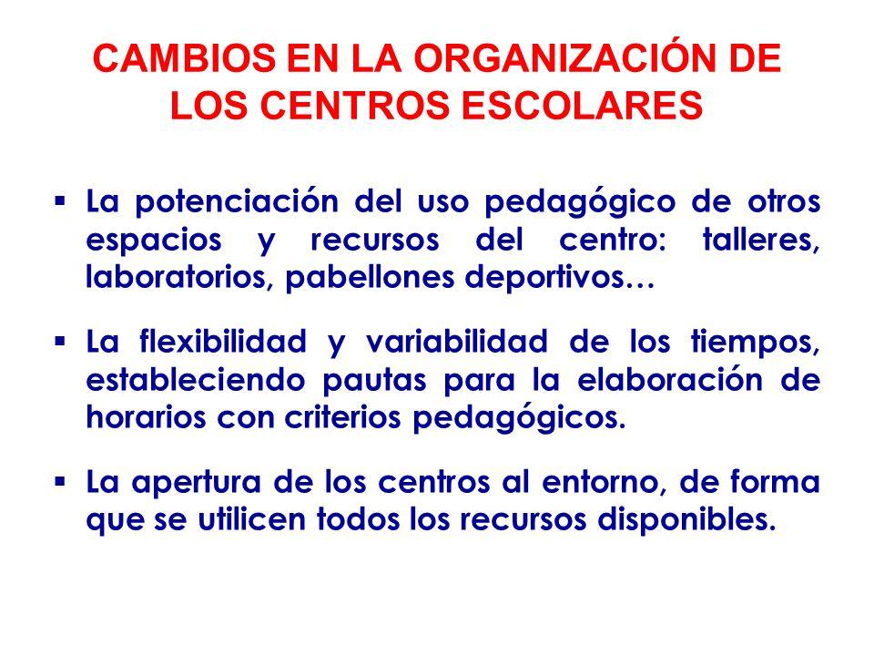 CAMBIOS EN LA ORGANIZACIÓN DE LOS CENTROS ESCOLARES