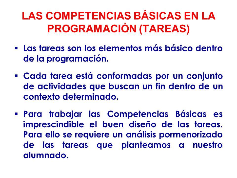 LAS COMPETENCIAS BÁSICAS EN LA PROGRAMACIÓN (TAREAS)
