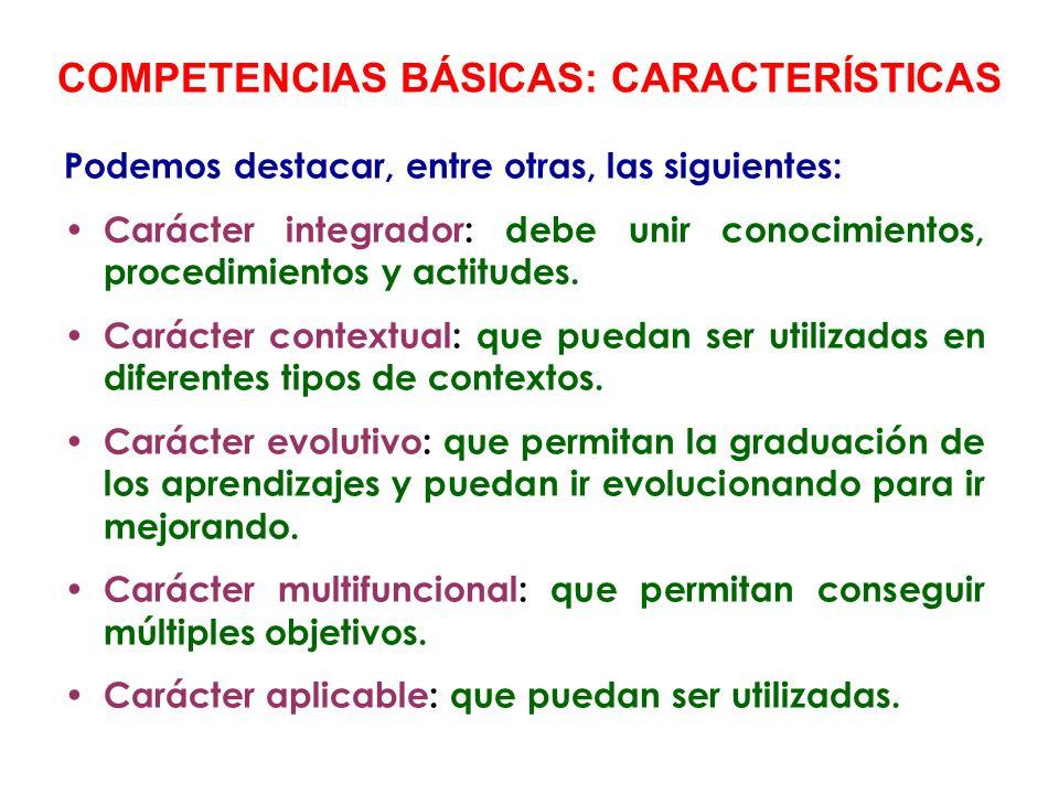 COMPETENCIAS BÁSICAS: CARACTERÍSTICAS