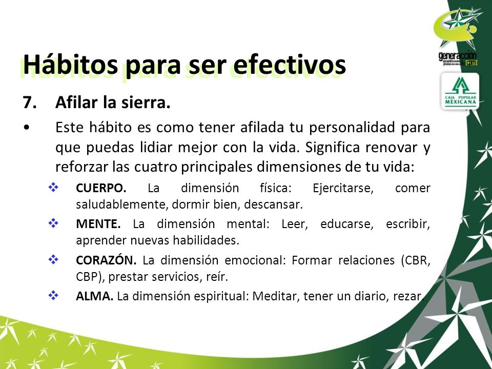 Hábitos para ser efectivos