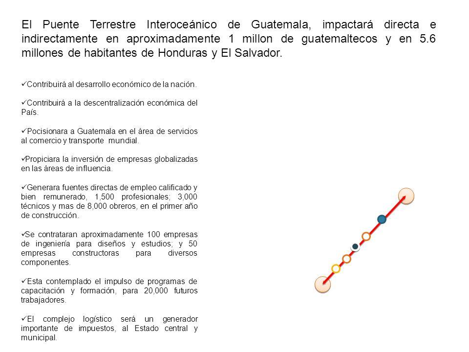 El Puente Terrestre Interoceánico de Guatemala, impactará directa e indirectamente en aproximadamente 1 millon de guatemaltecos y en 5.6 millones de habitantes de Honduras y El Salvador.