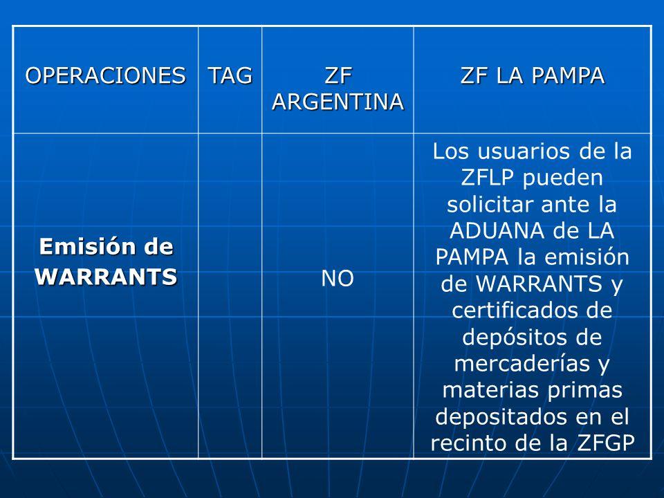 OPERACIONES TAG. ZF ARGENTINA. ZF LA PAMPA. Emisión de WARRANTS. NO.
